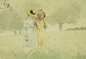 girls-strolling-in-an-orchard-winslow-homer